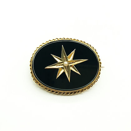 Victorian 18ct Gold Onyx and Seed Pearl Mourning Brooch