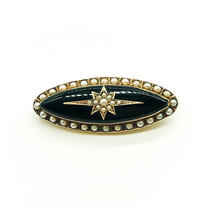 Victorian 15ct Gold Onyx and Seed Pearl Mourning Brooch