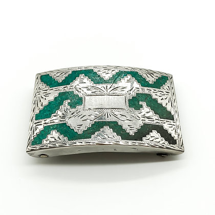 Vintage Silver Mexican Belt Buckle with Turquoise Inlay