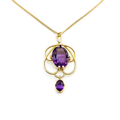 Edwardian 9ct Gold Amethyst Pendant on Chain (Sold)