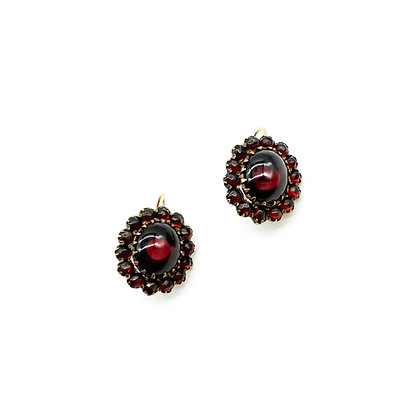 Vintage Garnet Earrings set in Garnet Gold