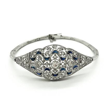 Art Deco Platinum Bracelet set with Diamonds and Sapphires (Sold)