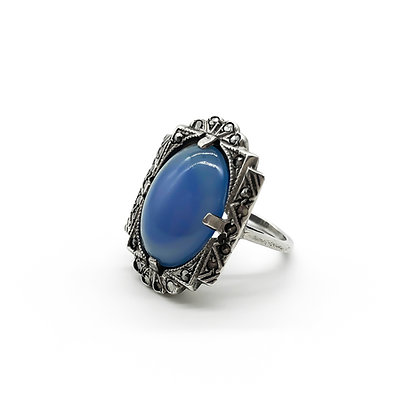 Art Deco Silver Marcasite Ring Set with Blue Chalcedony