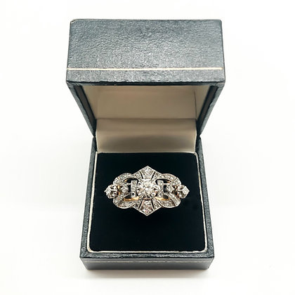 Art Deco 18ct Gold and Diamond Cluster Ring (Sold)