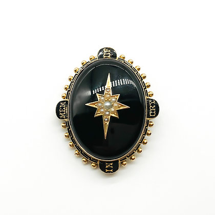 Victorian 15ct Gold Enameled Mourning Pendant