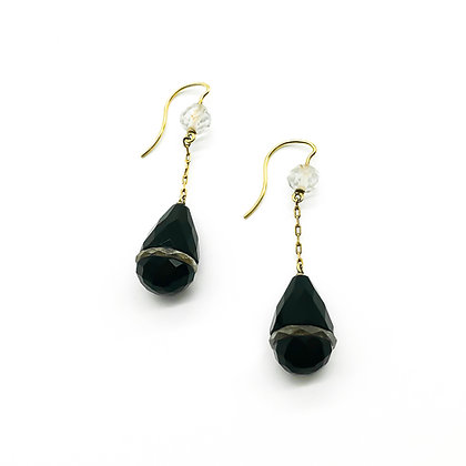 18ct Gold Onyx and Rock Crystal Drop Earrings