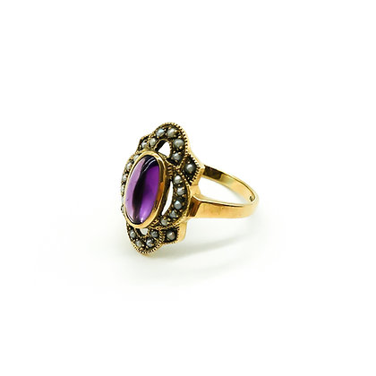 Vintage 9ct Gold Ring with Amethyst and Seed Pearls (Sold)