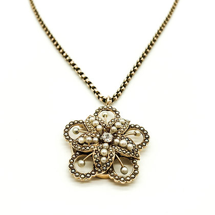 15ct Gold Victorian Diamond and Seed Pearl Pendant (Sold)