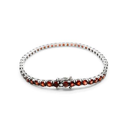 Silver Garnet Tennis Bracelet