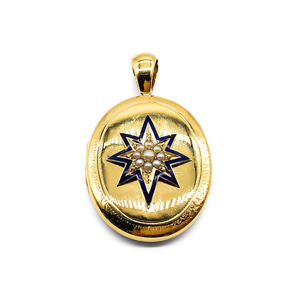 Victorian Gold Plated Enameled Locket
