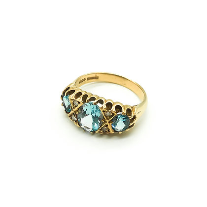 9ct Gold Aquamarine and Diamond Ring (Sold)