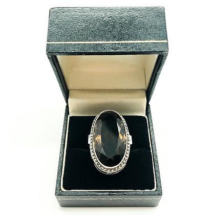 Large Silver Marcasite Ring set with Smokey Quartz