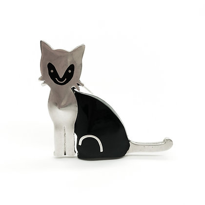Silver Mexican Cat Brooch with Black Enameling