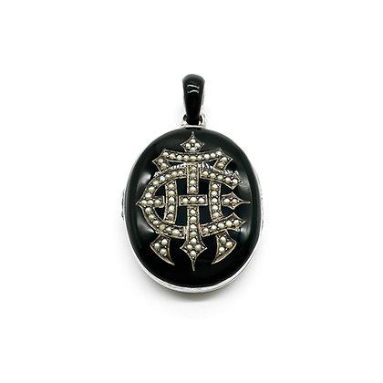 Victorian Silver Enamel and Seed Pearl Memorial Locket (Sold)