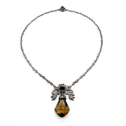 Silver Austro-Hungarian Smokey Quartz Necklace