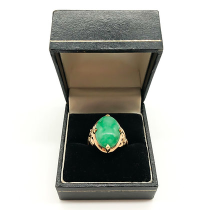 18ct Gold Ring set with Cabochon Jade (Sold)
