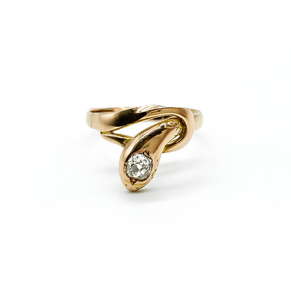 Victorian 15ct Gold and Diamond Snake Ring