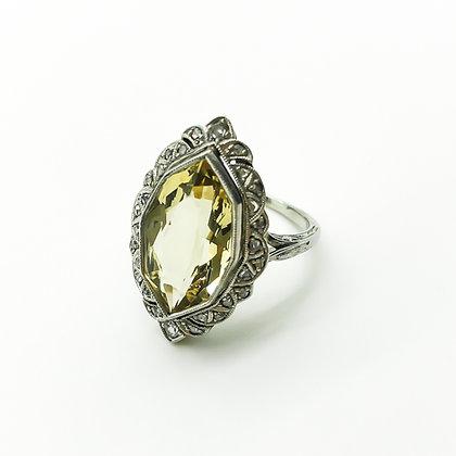 Art Deco Platinum Diamond and Heliodor Ring (Sold)
