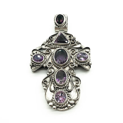Large Mexican Silver Cross set with Amethysts
