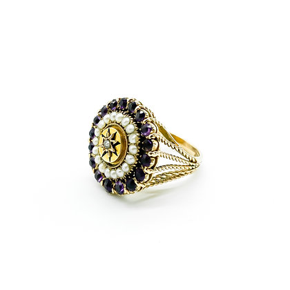 Vintage 9ct Gold Amethyst and Pearl Ring (Sold)