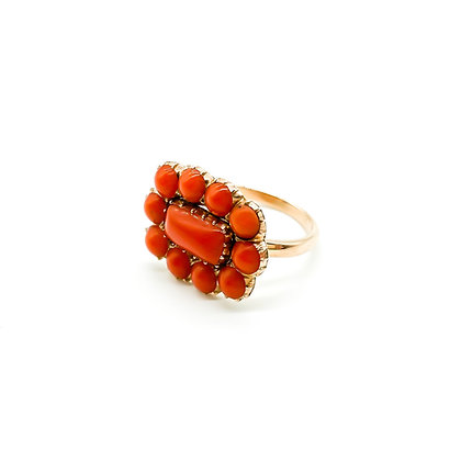 Victorian 9ct Gold Coral Ring