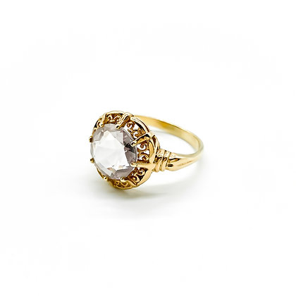 14ct Rose Gold and Rock Crystal Ring