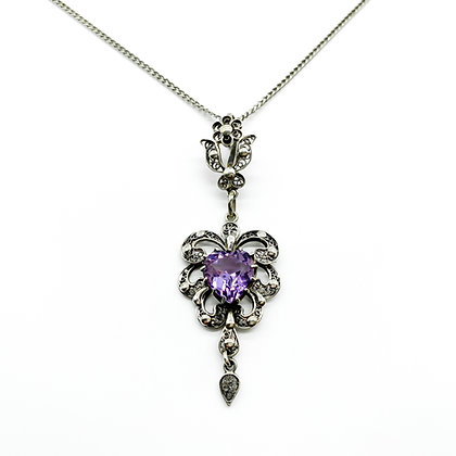 Silver Filigree Amethyst Pendant on Chain (Sold)