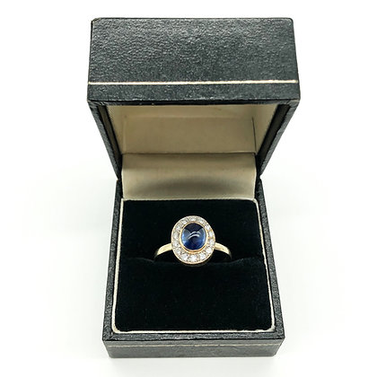 18ct Gold Diamond Ring set with Sapphire and Diamonds