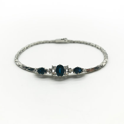 Vintage 14ct White Gold Bracelet set with Sapphires and Diamonds