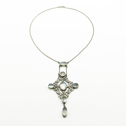 Edwardian Style Silver Moonstone Necklace (Sold)
