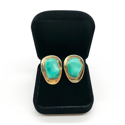 Turquoise Silver Gilt Clip-on Earrings