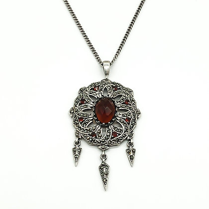 Vintage Silver Marcasite and Garnet Pendant on Chain (Sold)