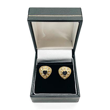 18ct Gold Diamond and Sapphire Heart Stud Earrings