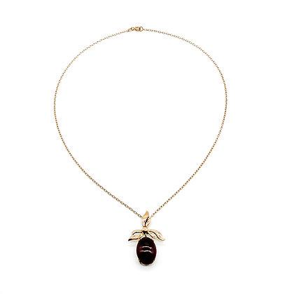 9ct Rose Gold Garnet Pendant on Chain