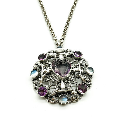 Silver Amethyst and Moonstone Pendant on Chain
