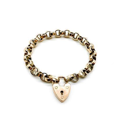 Victorian Rose Gold Bracelet with Padlock