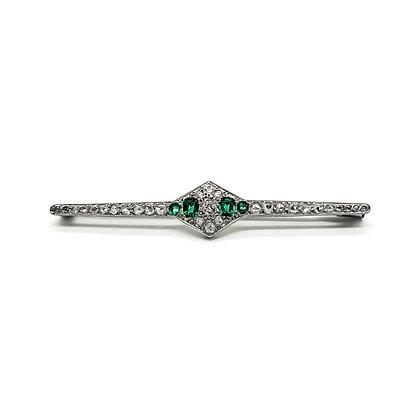 18ct White Gold Art Deco Diamond and Green Garnet Brooch