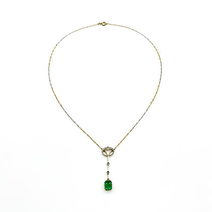 Edwardian 18ct Gold Emerald and Diamond Necklace
