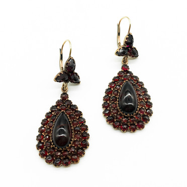 Large Vintage Garnet and Gilt Drop Earrings