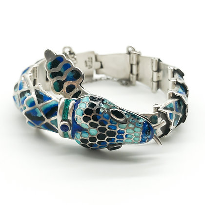 Silver Mexican Blue Enamel Articulated Snake Bracelet
