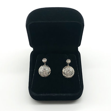 18ct White Gold and Diamond Drop Earrings