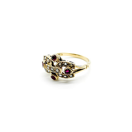 Vintage 9ct Gold Ruby and Seed Pearl Ring