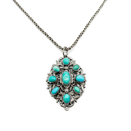 Silver and Turquoise Austro-Hungarian Pendant on Chain