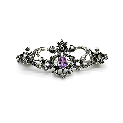 Victorian Silver Amethyst and Diamond Brooch