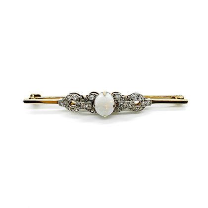 Art Deco 9ct Gold Opal and Diamond Brooch