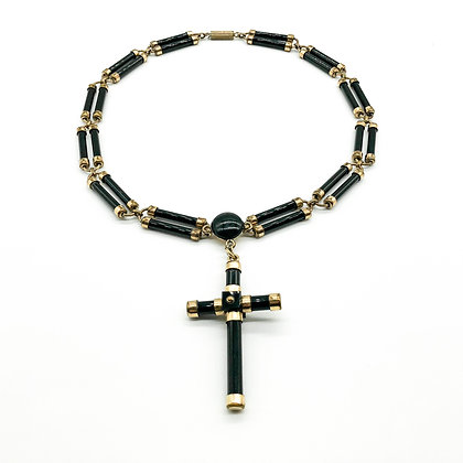 French Jet Gilt Choker with Cross (Sold)