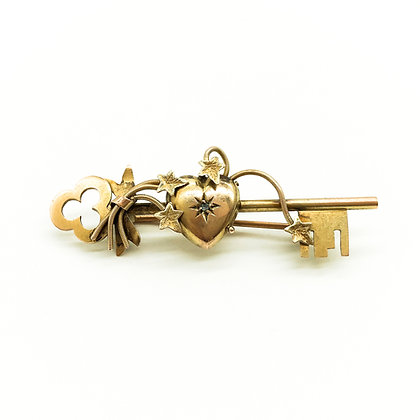 Victorian 9ct Gold Brooch set with Small Diamond (Sold)