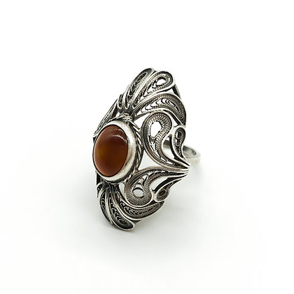 Vintage Silver Filigree Ring with Carnelian