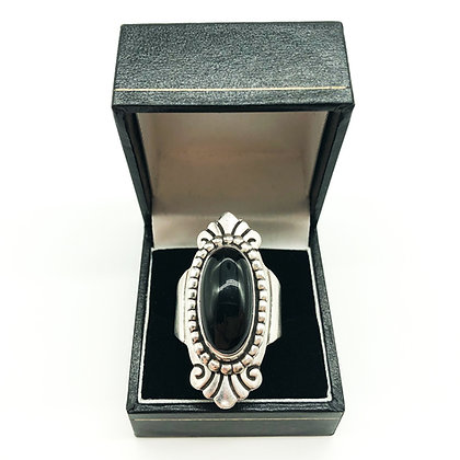 Vintage Mexican Silver Ring set with Onyx