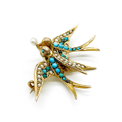 Victorian 15ct Gold Bird Brooch